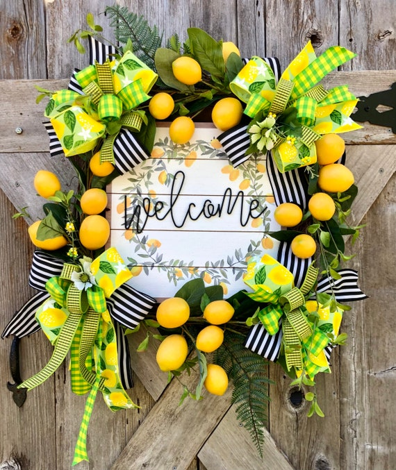 LEMON grapevine Wreath, Summer wreath, lemon wreath, farmhouse wreath, lemon decor,