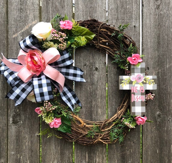 HE is RISEN buffalo check and pink roses Spring Easter Wreath