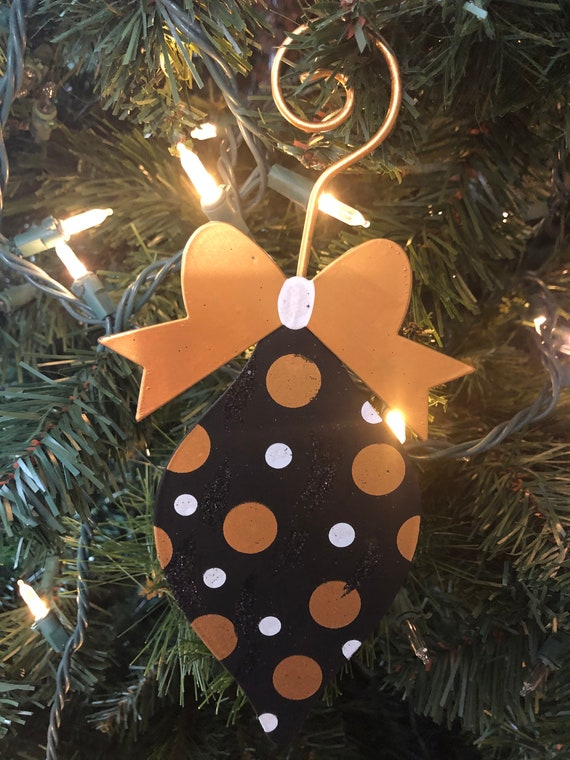 BLACK and GOLD CHRISTMAS polka dot metal ornament, Christmas ornament, Christmas Decor black and white glitter tree decoration