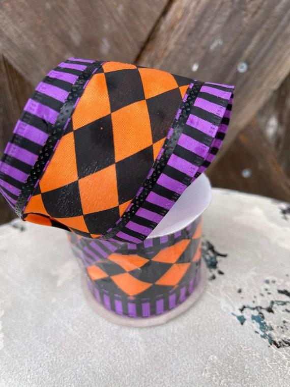 HALLOWEEN Orange purple and black harlequin RIBBON