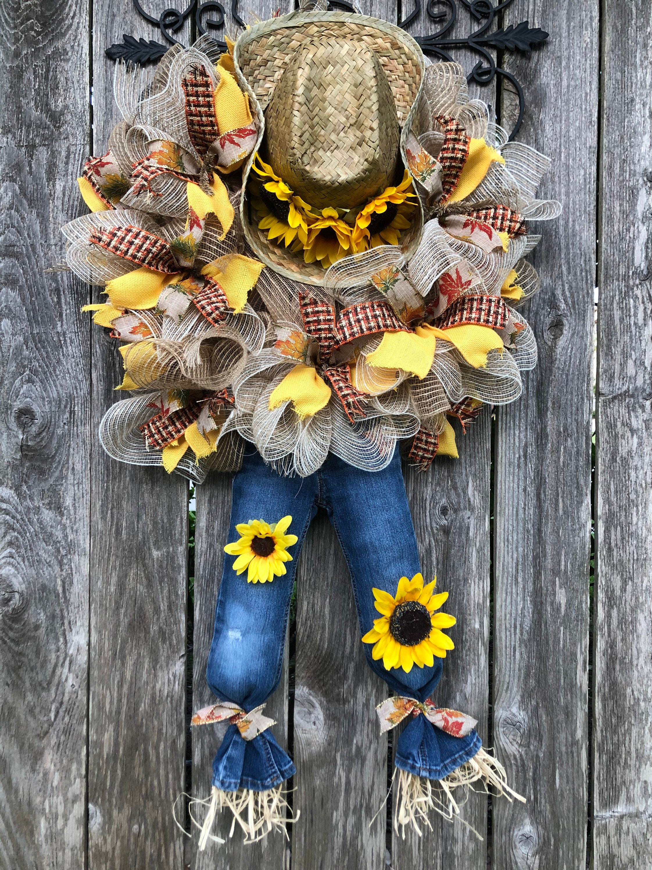 Cowboy Scarecrow Mesh Wreath Cowboy Hat And Jeans Scarecrow Wreath Scarecrow Sunflower Mesh Wreath Fall Wreath Scarecrow Decor