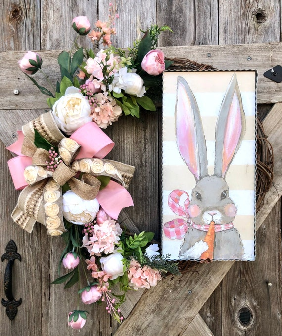 Welcome Spring BUNNY Easter Wreath with burlap ribbon, easter decor, door wreath, spring wreath