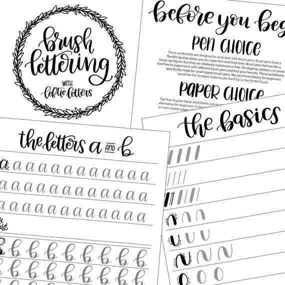 Brush Lettering Worksheets- Learn Brush Lettering- Lowercase Calligraphy  Worksheets- Brush Lettering- Beginning Calligraphy