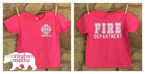 169b54399 Girl's Toddler/Youth Custom Fire Department Shirt | Etsy