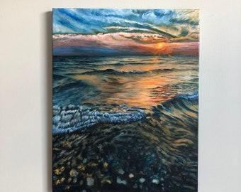 Beach Scene painting, sunset over the lake, Northern landscape art, serenity art, beach art, cabin art, vacation art, Canadian cottage art