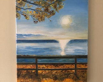 Fall scenery painting, sunrise art, morning at the lake art, beautiful landscape art, serenity art, nature decor, Canadian art, fall art