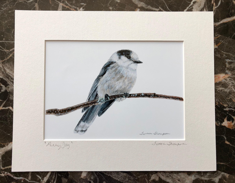 Whiskey Jack National bird of Canada Algonquin Bird bird painting Canadian Art Canadian bird Gray Jay print Canada Jay bird art
