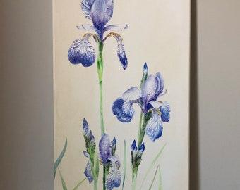 Purple Iris acrylic painting, Irises home decor, purple flower art, beautiful iris art, garden flower art, home office art, gift for her