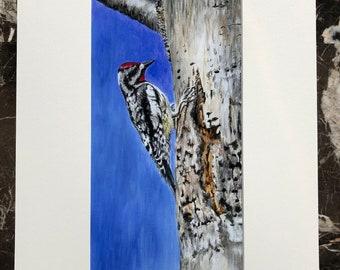 Woodpecker art print, wild bird art, wildlife art, nature art, gift ideas for him, woodland themed art, forest themed art, texture art