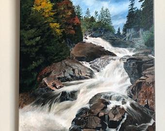 Ragged Falls painting, Algonquin Park art, Canadian Landscape Art, Ontario Landscape Art, waterfall art, autumn art, fall home decor