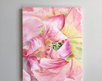 Pink Tulip abstract painting, tulip art, pink flower art, spring art, garden art, pink home decor, pink wall art, flower art, colorful art
