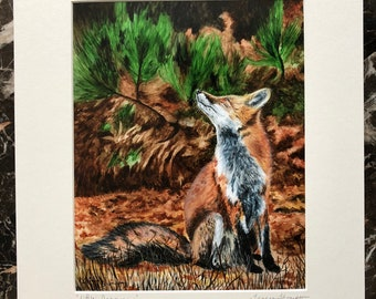 Red Fox print, fall wildlife scene, nature scene, fall leaves, red fox art, cute red fox art, realism home decor, woodland theme, fall art