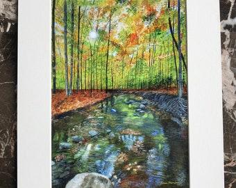Fall art print, fall home decor, fall landscape art, serenity art, nature art, sunshine in the forest art, beautiful scenery, fall leaves