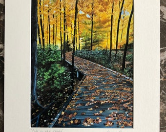 Fall forest print, fall landscape scene, relaxing serene art, fall art, fall wall art, path into the woods, fall decor, decorating for fall