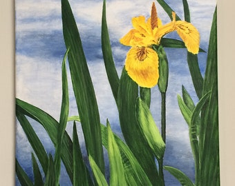 Yellow Iris Original Acrylic Painting, Flower art, Realism Flower art, Blue, Yellow, Green, Home Decor, Beautiful Flower art, Colorful art