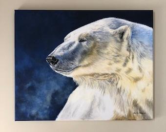 Polar Bear painting, Canadian art, original acrylic painting of a polar bear on canvas, polar bear art, northern art, wild animal art