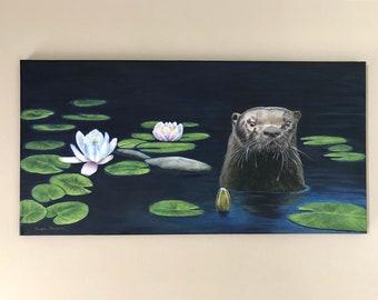 River Otter painting, Algonquin Park art, waterlily art, cabin art, cottage art, wildlife art, water animal art, wildlife themed decor art