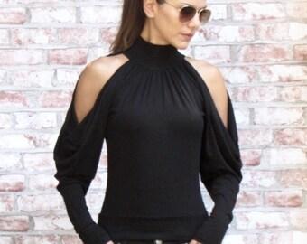 10e542dfd8b43f Original Cold Shoulder Designer Blouse • Black Top • Unique Shirt • Party  Top with Extra Long Sleeve • Marsiybell Signature Design MB02B