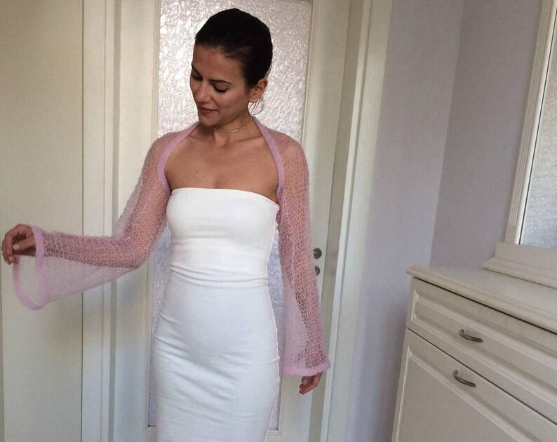 Light Pink Knit Shrug  Elegant Spring Knit Mohair Bolero  Designer Shrug  Bohemian Fashion  Gift for Women Handmade by Marsiybell MB05K