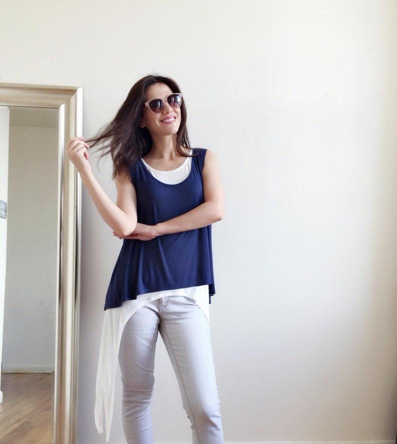 Two Blouses in One \u2022 Dark Blue and White Party Blouse \u2022 Extravagant Top \u2022 Asymmetrical Tunic \u2022 Summer Top \u2022 Handmade by Marsiybell MB28B