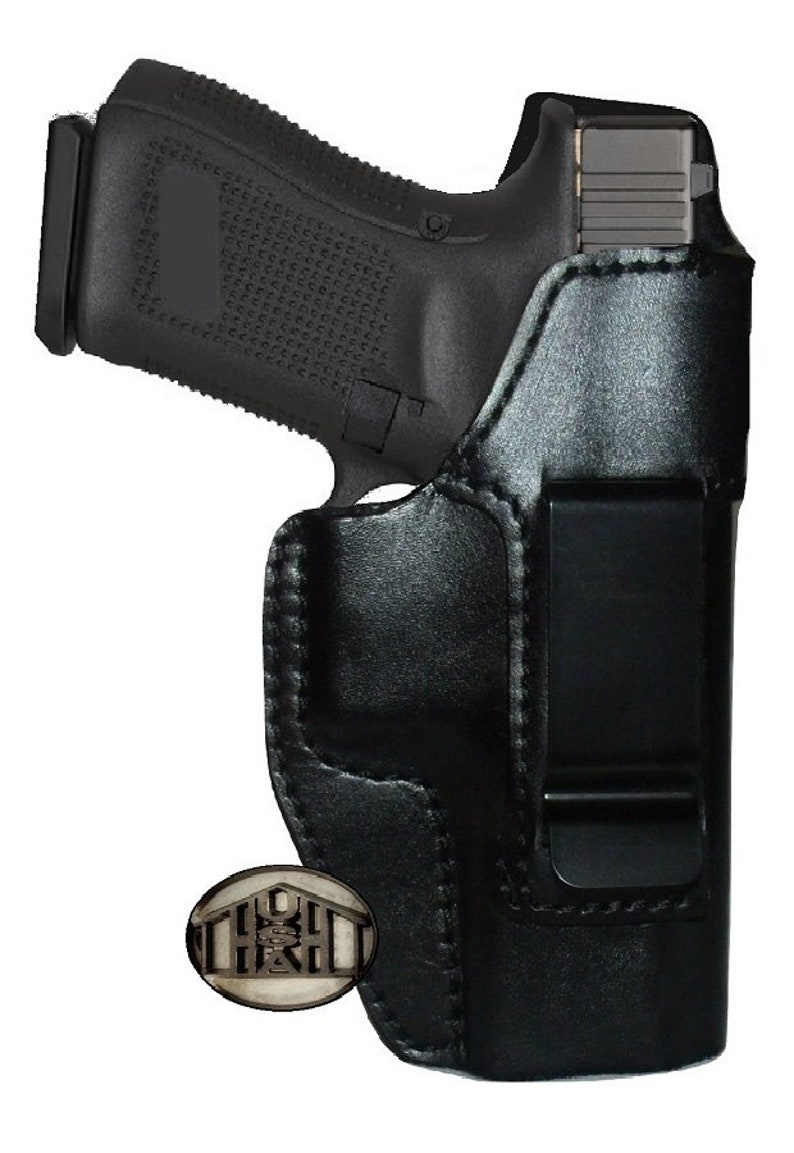 Concealed Carry Gun Holster for Glock 19 Black Leather Inside Waistband IWB