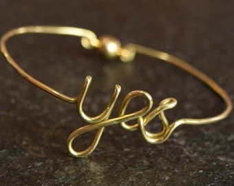 Yes Bracelet, Wedding YES Bangle, Bridesmaid, Bride's Bangle, Wedding Jewelry, Wire Brass Bracelet