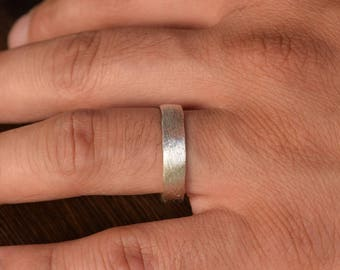 Mens Ring, Mens Wedding Band, Brushed Ring, rugged Bands, Sterling Silver Ring, Wedding, Bride, Groom, Raw Rustic Ring