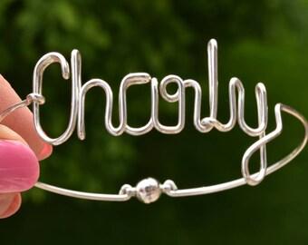 Silver Name Bracelet, Handmade Custom Bracelet, Customized Bangle, Name Bangle, Wire Bangle, Personalized Jewelry, AtelierWhiteMouse
