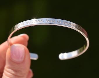 Sterling Silver Bracelet, Personalized Message, Engraved Bracelet, Custom Bracelet, 925 Cuff Bracelet, Engraved Bracelets, Handwriting Text