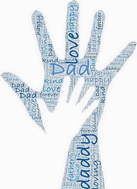 Personalizados impresión del arte de palabra con el papá y del niño ...