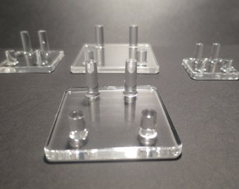 Set of 4 Acrylic 4 Peg Display Stands for Rocks and Minerals
