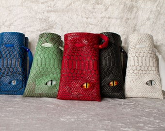 Dice bag, dragon skin, dragon eye, D&D, Dungeons and Dragons, d20, dicebag, free shipping, critical roll
