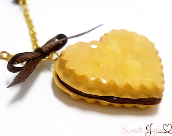 Heart Shaped Chocolate Filled Biscuit Necklace - Sweet Lolita Gold Tone Cookie Jewelry