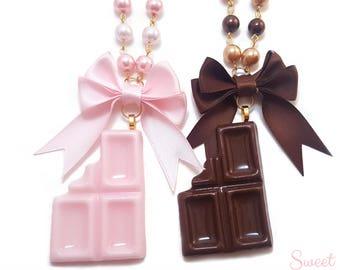 Bitten Chocolate Bar Necklace - 2 colors - Cute Kawaii Sweet Lolita Fashion Jewelry - Gold tone Pearl Beaded Chain