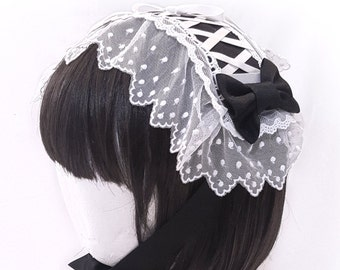 Pretty Lace Rectangle Headdress - Old School Classic Gothic and Sweet Lolita Kawaii Hair Accessory