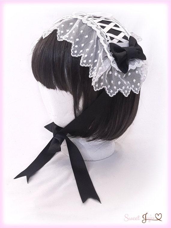 Hairband Black Flower Lace Drop Bead Gothic Womens Hair Hoop Headband LD