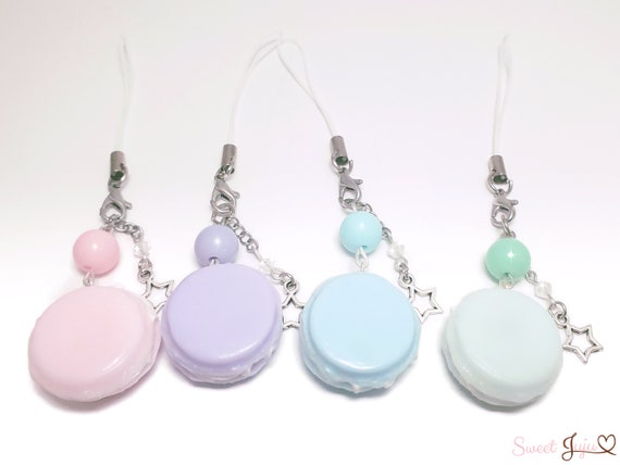 Colorful Macaron Charm   Kawaii Fairy Kei And Sweet Lolita Fashion Accessory   Phone Strap Or Keychain   4 Colors by Etsy