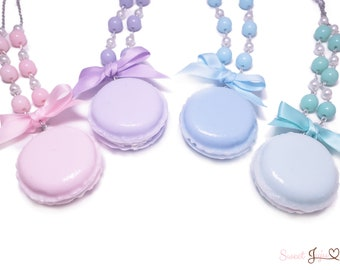 Colorful Macaron Necklace - Kawaii Fairy Kei and Sweet Lolita Fashion Jewelry - Silver pearl beaded chain - 4 colors