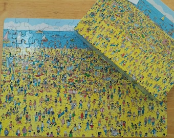 Where's Waldo puzzle 1989, 100 pieces puzzles, Beach Puzzle, 80's puzzles, Boardgames, kids gift, Birthday gift, Look and find, 90s kids