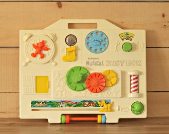 1977's ,playskool musical busy box, 1970 toy, Baby toy, Shower gift, Playskool activity center, Disney toy, Kid gift, Christmas gift