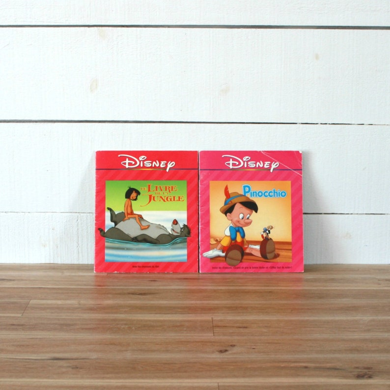 Set Of 2 Disney French Book Pinocchio Book Jungle Book 90 Book Disney Movie 90s Movie Kids Book Kids Gift Christmas Gift Audio Book