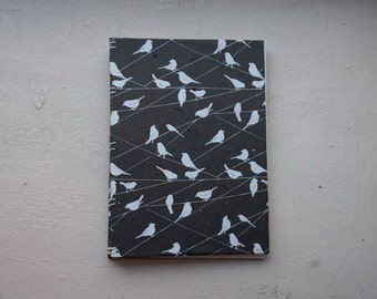 Handmade Black and White Bird Blank Journal/Diary/Notebook/Wedding Guestbook