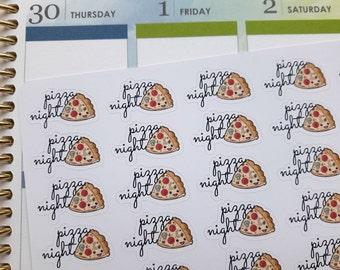 Pizza night stickers, planner stickers, pizza stickers, kawaii stickers, food stickers, meal stickers to fit Erin Condren, Happy Planner, TN