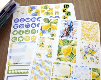 Sommer, Zitrone-Mini Happy Planner wöchentliche Aufkleber Kit, Sticker, Aquarell Aufkleber Kit, Mini Happy Planner Sticker