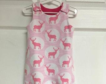 db5c851863d Pink Baby Harem Romper with Deer