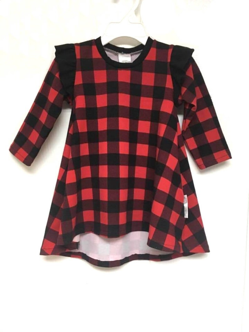 860f6d7a0 Girl's Buffalo Plaid Dress with Ruffle Sleeves Hi Low Tee | Etsy