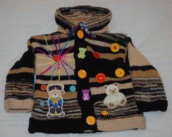 2 years original VEST knitted hands Pixie hood