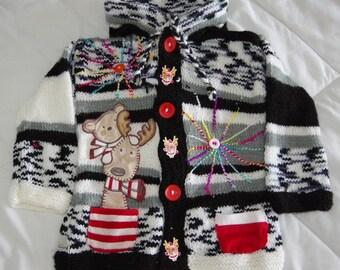 VEST 4 YEARS old boy original knitted hand hood elf