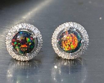 6MM Black Fire Opal Earring StudHandmade JewelryRed Opal StudSterling SilverMade In USA