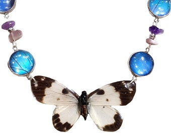 Real Handmade Butterfly Wing Necklace -Sterling Silver - Blue Morpho Butterfly Wing Jewelry